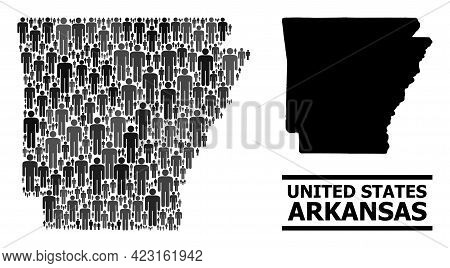 Map Of Arkansas State For Demographics Agitprop. Vector Demographics Mosaic. Concept Map Of Arkansas
