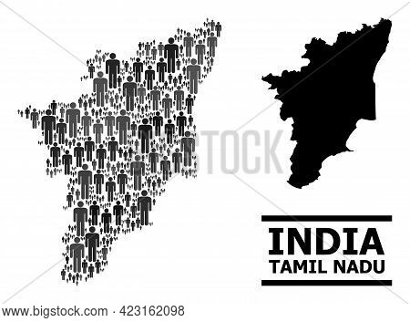 Map Of Tamil Nadu State For Demographics Propaganda. Vector Population Collage. Mosaic Map Of Tamil