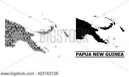 Map Of Papua New Guinea For National Agitprop. Vector Nation Collage. Collage Map Of Papua New Guine