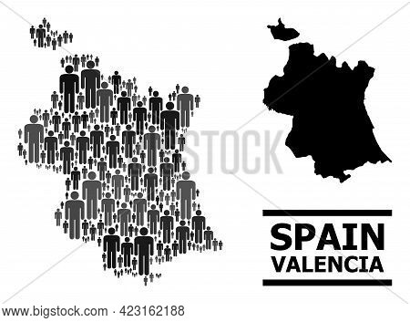 Map Of Valencia Province For Demographics Propaganda. Vector Demographics Collage. Mosaic Map Of Val