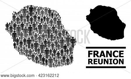 Map Of Reunion Island For National Promotion. Vector Demographics Mosaic. Mosaic Map Of Reunion Isla