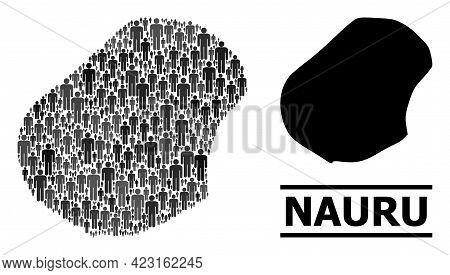 Map Of Nauru For Social Propaganda. Vector Population Mosaic. Collage Map Of Nauru Composed Of Popul