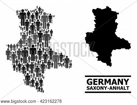Map Of Saxony-anhalt State For Demographics Applications. Vector Demographics Mosaic. Concept Map Of