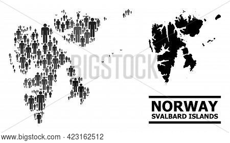 Map Of Svalbard Islands For Demographics Posters. Vector Demographics Collage. Collage Map Of Svalba