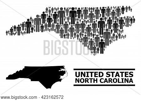 Map Of North Carolina State For Demographics Propaganda. Vector Demographics Mosaic. Mosaic Map Of N