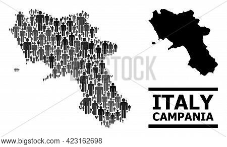 Map Of Campania Region For Social Applications. Vector Demographics Abstraction. Concept Map Of Camp