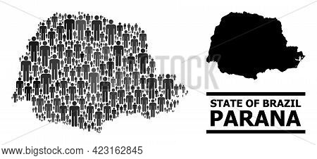 Map Of Parana State For Demographics Agitation. Vector Demographics Mosaic. Mosaic Map Of Parana Sta