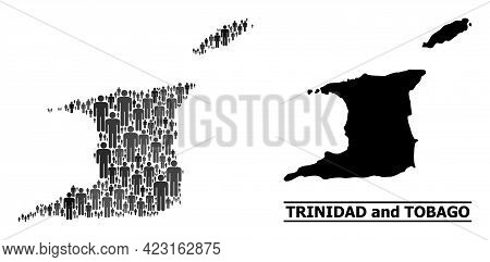 Map Of Trinidad And Tobago For Demographics Doctrines. Vector Demographics Mosaic. Concept Map Of Tr
