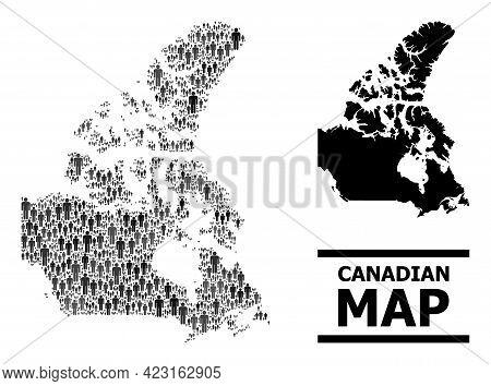 Map Of Canada For Demographics Propaganda. Vector Nation Abstraction. Abstraction Map Of Canada Cons