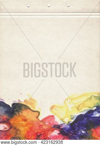 A Sheet Of Notebook Stained With Multicolored Watercolors. Artistic Template For Creative Design.