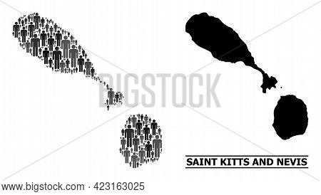 Map Of Saint Kitts And Nevis For Demographics Promotion. Vector Demographics Mosaic. Composition Map