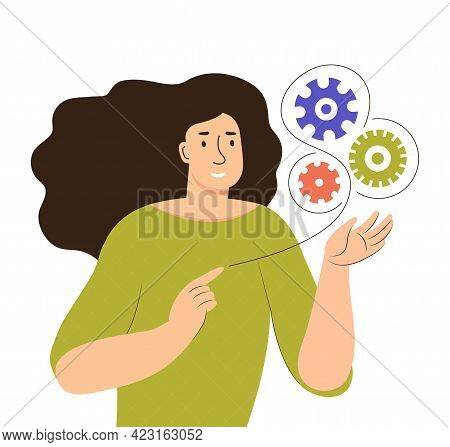 A Young Woman Holds Working Gears In Her Hands. Searching For Ideas And Solutions, Business Processe
