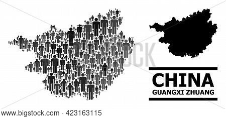 Map Of Guangxi Zhuang Region For Social Applications. Vector Nation Mosaic. Concept Map Of Guangxi Z