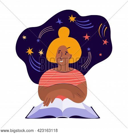 Young Woman Reads A Large Paper Book And Fantasizes About The Cosmos. Creative Imagination And Think