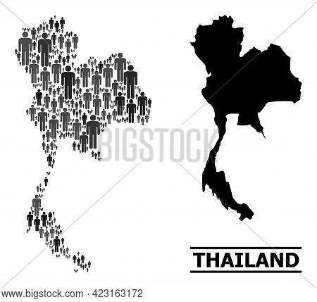 Map Of Thailand For National Doctrines. Vector Population Collage. Concept Map Of Thailand Made Of M