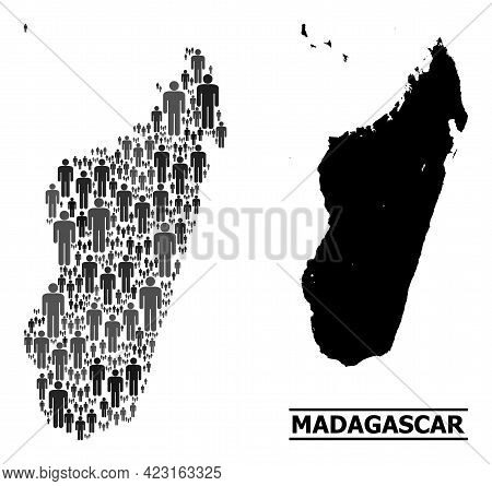 Map Of Madagascar Island For Social Projects. Vector Population Abstraction. Concept Map Of Madagasc