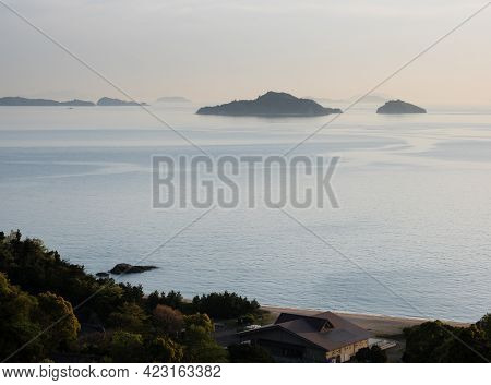 View Of The Seto Inland Sea And The Islands From Kyukamura Setouchi Toyo, A Scenic Resort On Shikoku