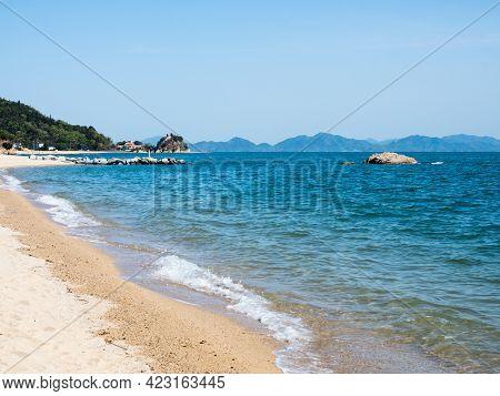 Scenic White Sand Beach On Seto Inland Sea In Toyo - Ehime Prefecture, Japan