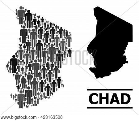 Map Of Chad For Demographics Projects. Vector Demographics Collage. Abstraction Map Of Chad Made Of