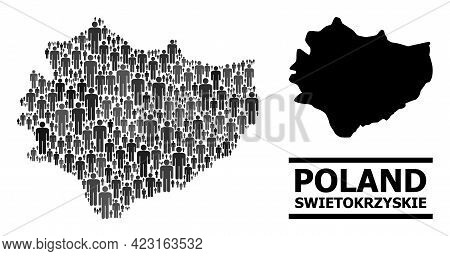 Map Of Swietokrzyskie Province For Social Agitprop. Vector Population Collage. Collage Map Of Swieto