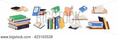 Stacks Of Books For Reading, Pile Of Textbooks For Education. Set Of Literature, Dictionaries, Encyc