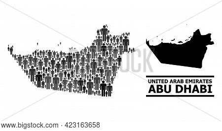 Map Of Abu Dhabi Emirate For Politics Promotion. Vector Nation Collage. Collage Map Of Abu Dhabi Emi