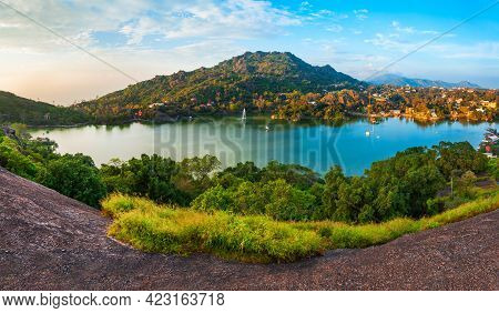 Mount Abu And Nakki Lake Aerial Panoramic View. Mount Abu Is A Hill Station In Rajasthan State, Indi