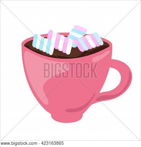 Marshmallow In Cup Of Hot Chocolate. Cacao Drink With Sweets Isolated On White Background. Vector Il