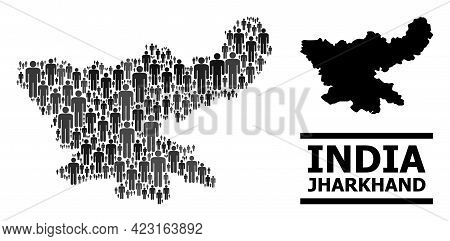 Map Of Jharkhand State For Demographics Purposes. Vector Demographics Collage. Composition Map Of Jh