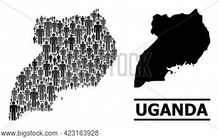 Map Of Uganda For Political Projects. Vector Demographics Mosaic. Mosaic Map Of Uganda Organized Of