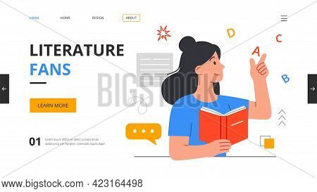 Female Character Literature Fan With Books. Reading Young Smiling Woman, Student Studying Or Prepari