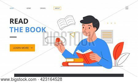 Young Smiling Caucasian Man Literature Fan With Books. Reading Male Character, Student Studying Or P