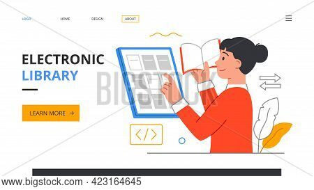 Electronic Library Concept. Female Character Literature Fan With Books. Reading Woman, Student Study