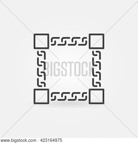 Block Chain Vector Concept Icon In Outline Style