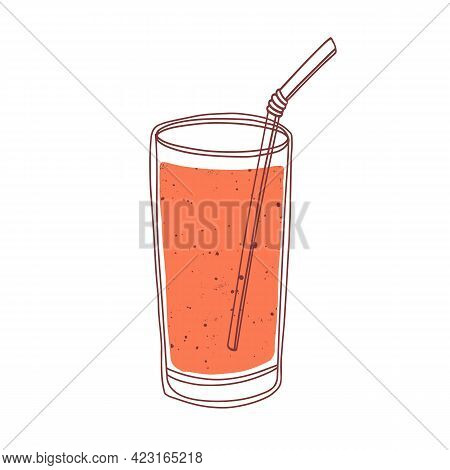 Fresh Berry Smoothie In Glass With Straw. Refreshing Summer Drink. Cooling Fruit And Vegetable Cockt