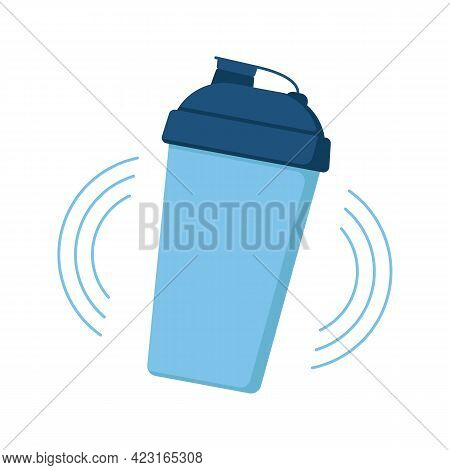 Shaker Bottle Mix With Protein Drink Icon. Shake Mug For Protein Cocktails. Personal Refillable Spor