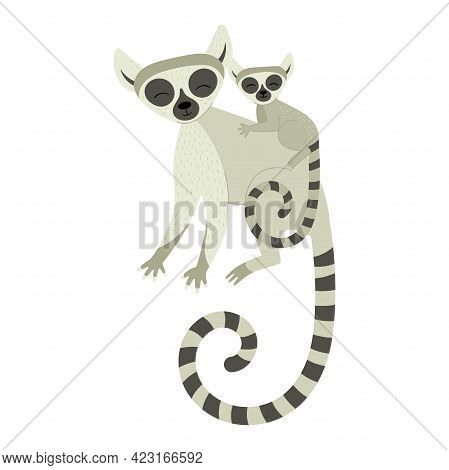 Exotic Cute Lemur Mom With Her Baby. Animals Of Madagascar And Africa. Vector Childrens Illustration