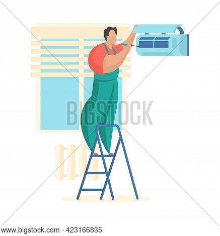 Master Cleans Air Conditioner. Technical Service For Maintenance Ventilation Systems. Man In Uniform