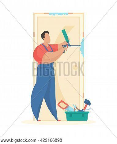 Installation New Front Door. Man In Uniform Foams Up Doorway Slits After Building. Toolbox On Floor.