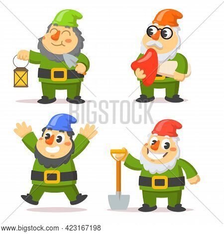 Funny Gnome Characters Flat Vector Illustrations Set. Cartoon Dwarfs Holding Lantern, Mushroom And S