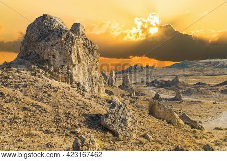 Trona Pinnacles are nerarly 500 tufa spires hiddeen in California Desert National Conservation Area, not far from the Death Valley National Park, California, USA. Sunset