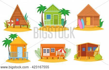 Tropical Houses Vector Cartoon Illustrations Set. Bungalow On Island, Hut, Cottage, Hotel By Sea, Su