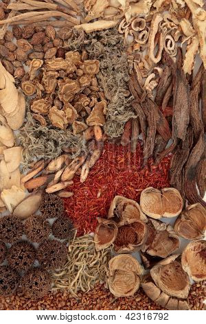 Traditional chinese herbal medicine selection forming a background.