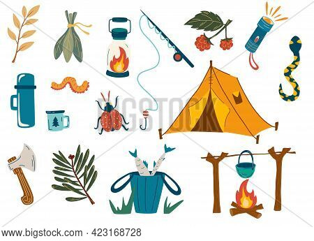 Camping And Hiking Set. Outdoor Recreation, Fishing, Hiking In The Forest. For Scrapbooking, Craft P