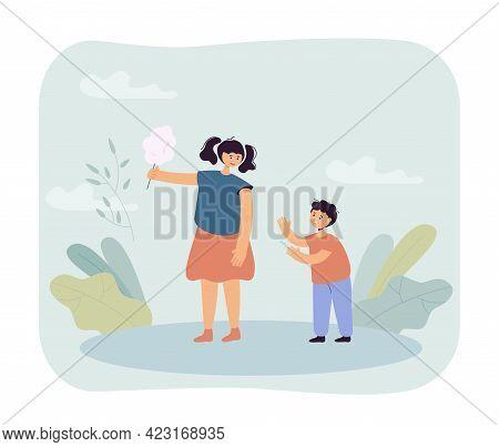 Boy Begging Girl For Candy Vector Illustration. Little Brother Pleading Elder Sister To Give Him Cot