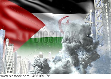 Big Smoke Pillar In The Modern City - Concept Of Industrial Blast Or Terroristic Act On Western Saha