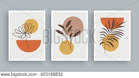 Botanical Wall Art Painting Background. Foliage Art And Hand Drawn Line With Abstract Shape. Mid Cen
