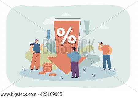 Down Arrow With Percentage Decrease. Characters Upset About Profit Reduction Flat Vector Illustratio