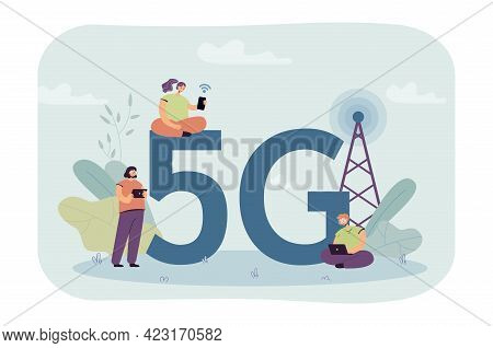People Trying To Catch 5g Internet Connection. Young Students With Laptop And Mobile Phones Using Wi