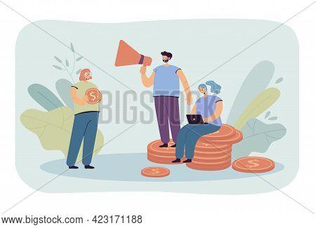 People Funding Money Vector Illustration. Man Talking Into Megaphone, Woman Using Laptop. Female Cha